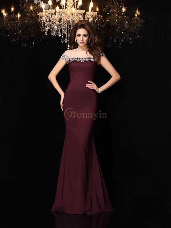 Grape Elastic Woven Satin High Neck Trumpet/Mermaid Court Train Dresses