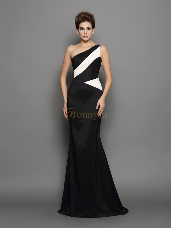 Black Chiffon One-Shoulder Trumpet/Mermaid Sweep/Brush Train Evening Dresses