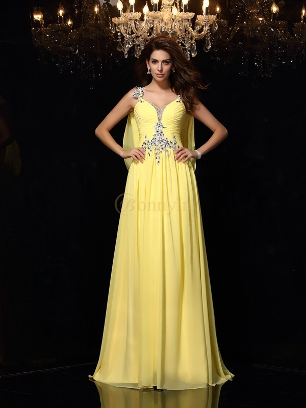 Daffodil Chiffon Straps A-Line/Princess Court Train Dresses