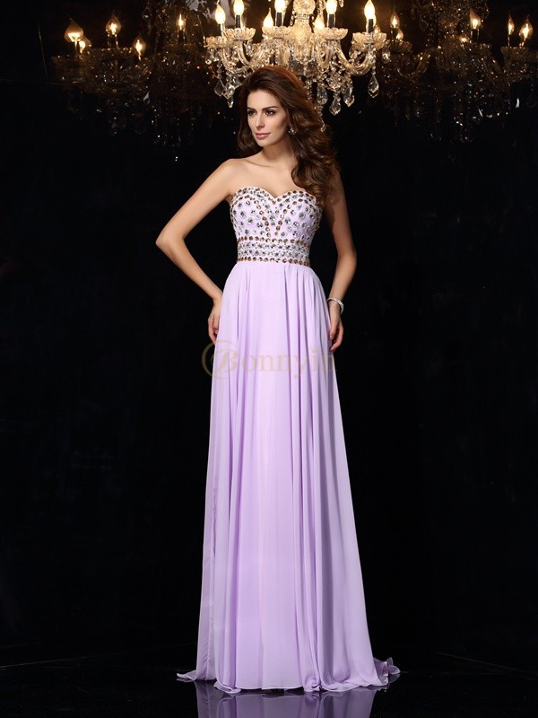 Lavender Chiffon Sweetheart A-Line/Princess Floor-Length Dresses