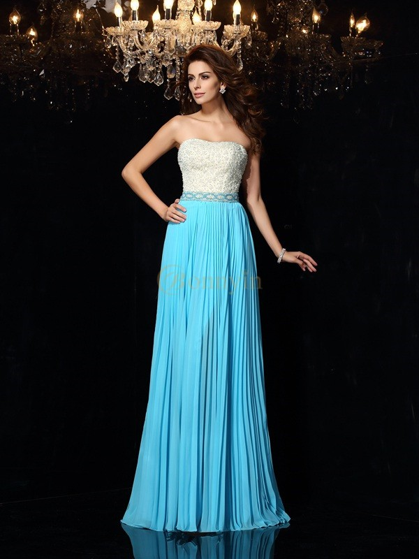 Blue Chiffon Strapless A-Line/Princess Sweep/Brush Train Dresses