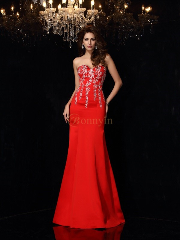 Red Satin Sweetheart Sheath/Column Floor-Length Dresses
