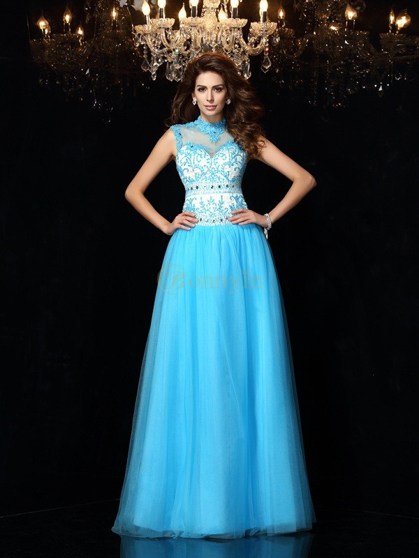 Blue Satin High Neck A-Line/Princess Floor-Length Dresses