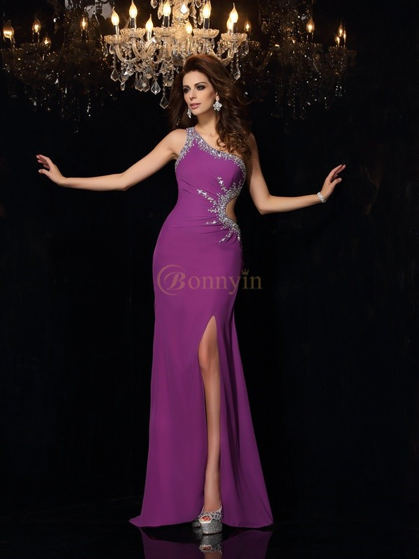 Grape Chiffon One-Shoulder Sheath/Column Floor-Length Dresses