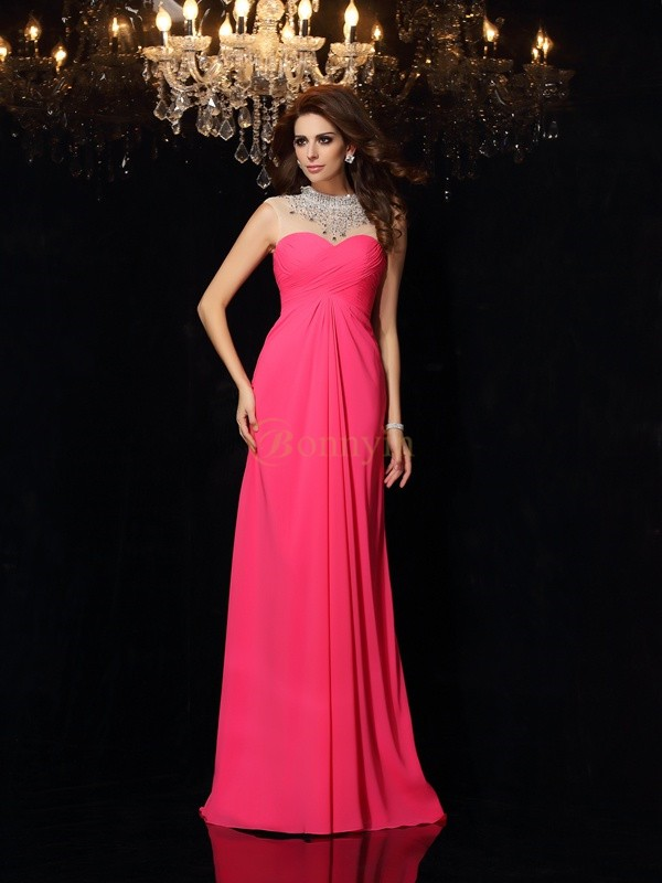 Fuchsia Chiffon High Neck A-Line/Princess Sweep/Brush Train Dresses