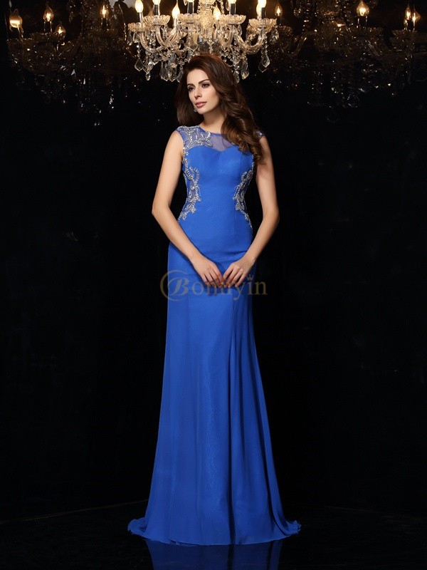 Royal Blue Chiffon Scoop Sheath/Column Sweep/Brush Train Dresses