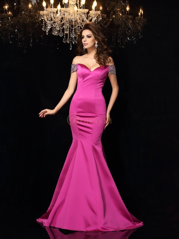 Fuchsia Satin Off-the-Shoulder Trumpet/Mermaid Court Train Dresses