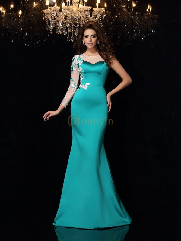 Green Satin Scoop Trumpet/Mermaid Court Train Dresses