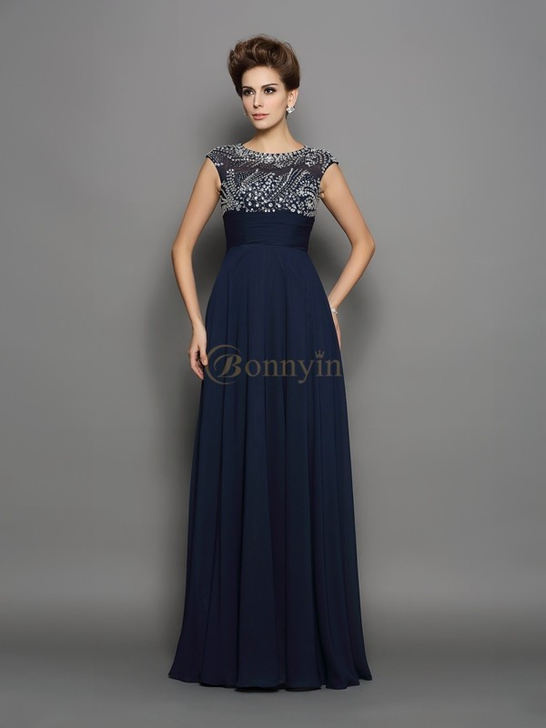 Dark Navy Chiffon Scoop A-Line/Princess Floor-Length Dresses