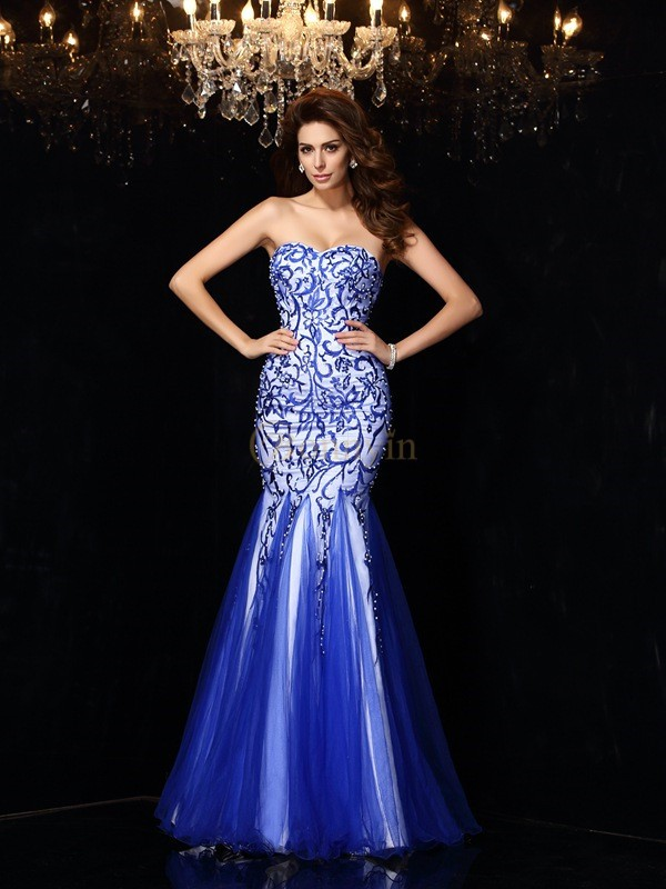 Royal Blue Net Sweetheart Sheath/Column Floor-Length Dresses