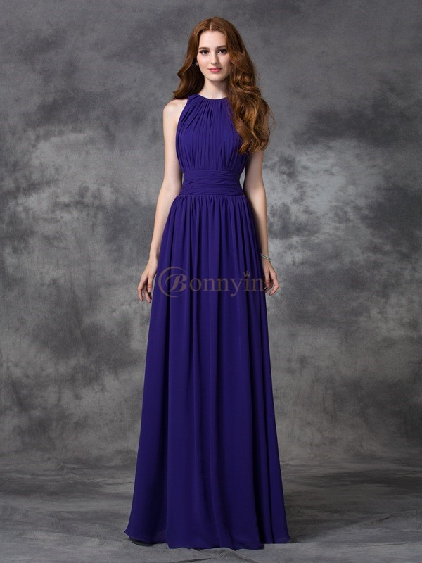 Grape Chiffon Jewel A-line/Princess Floor-length Bridesmaid Dresses
