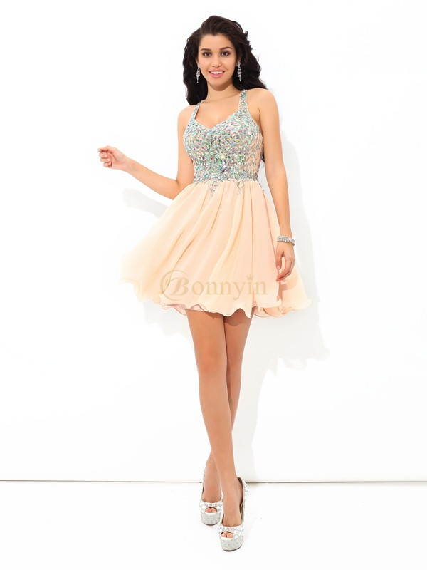 Pink Chiffon Straps A-Line/Princess Short/Mini Cocktail Dresses