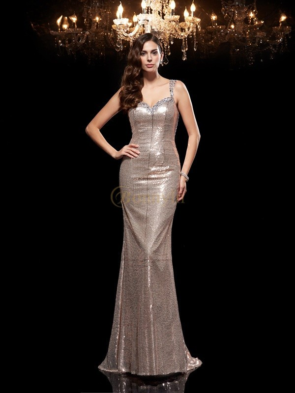 Silver Sequins Straps Sheath/Column Sweep/Brush Train Evening Dresses
