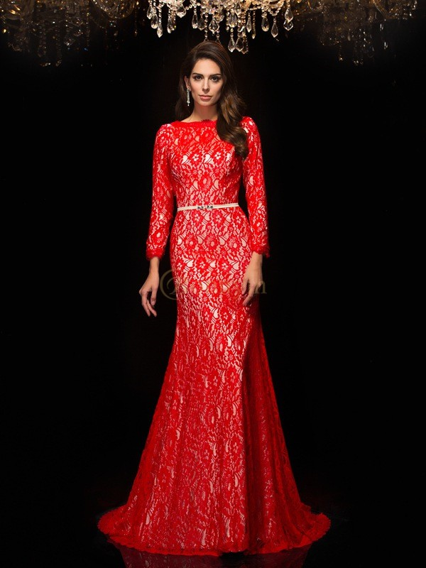 Red Lace Bateau Sheath/Column Sweep/Brush Train Evening Dresses