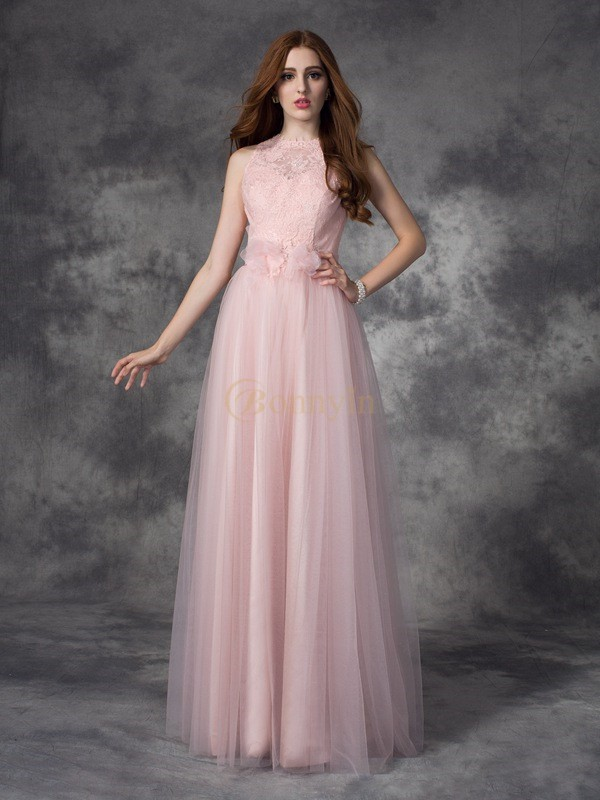 Pearl Pink Net Bateau A-line/Princess Floor-Length Evening Dresses