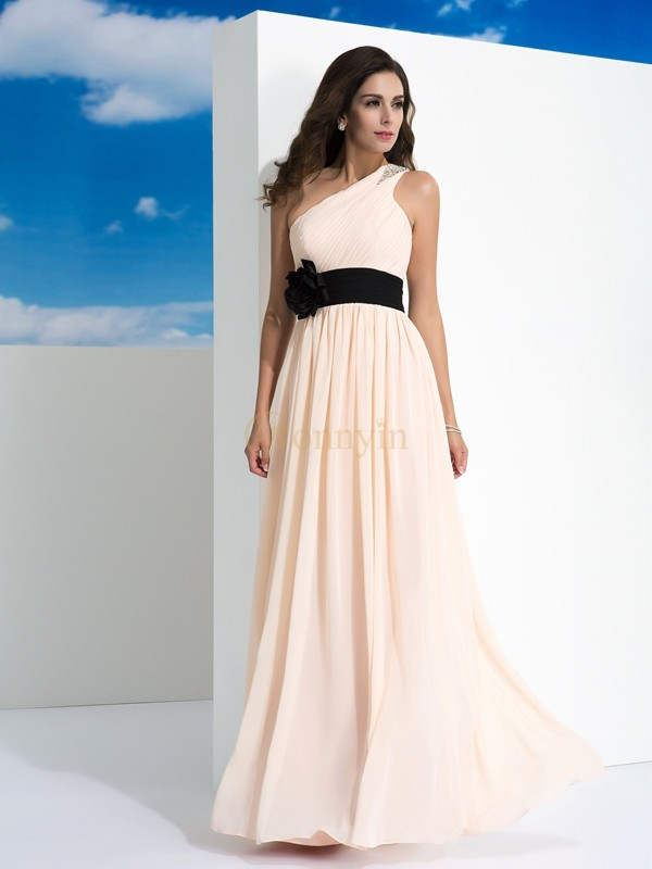 Pearl Pink Chiffon One-Shoulder A-Line/Princess Floor-Length Evening Dresses