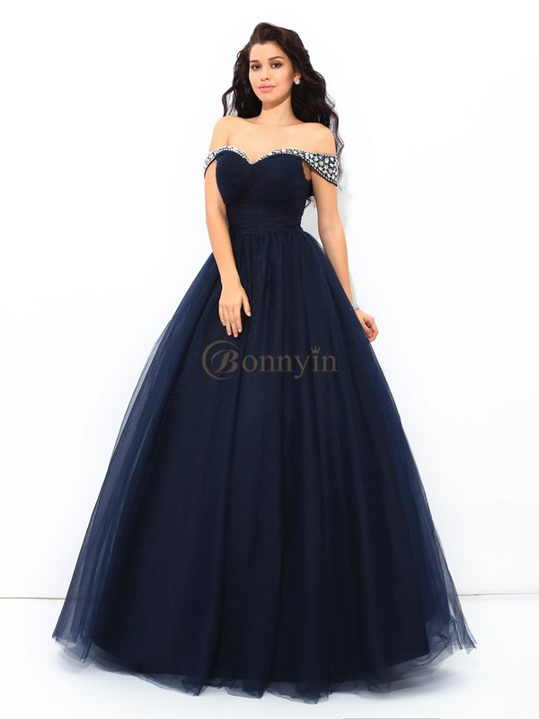 Dark Navy Net Off-the-Shoulder Ball Gown Floor-Length Quinceanera Dresses