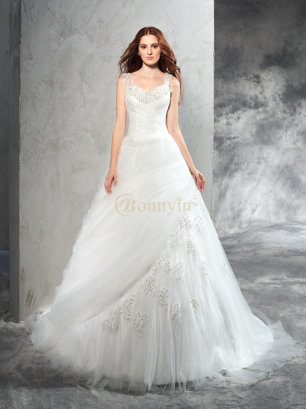 Ivory Net Straps Ball Gown Court Train Wedding Dresses
