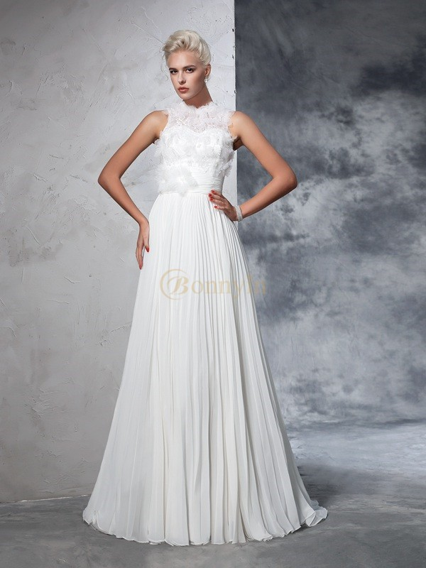 Ivory Chiffon High Neck A-Line/Princess Court Train Wedding Dresses