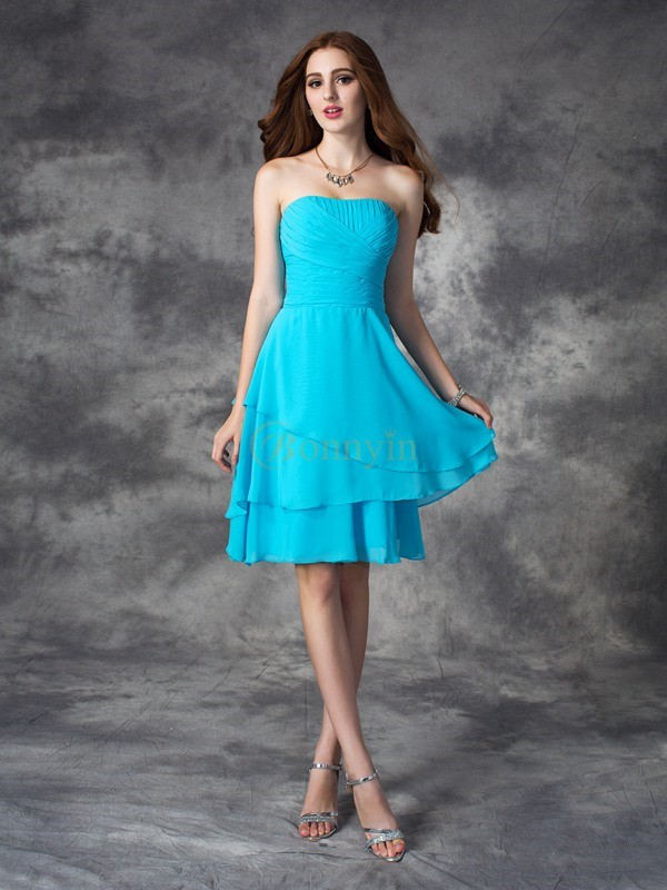 Blue Chiffon Strapless A-line/Princess Short/Mini Bridesmaid Dresses