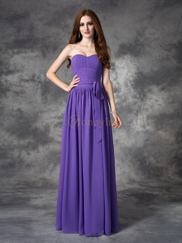 Regency Chiffon Sweetheart A-line/Princess Floor-length Bridesmaid Dresses