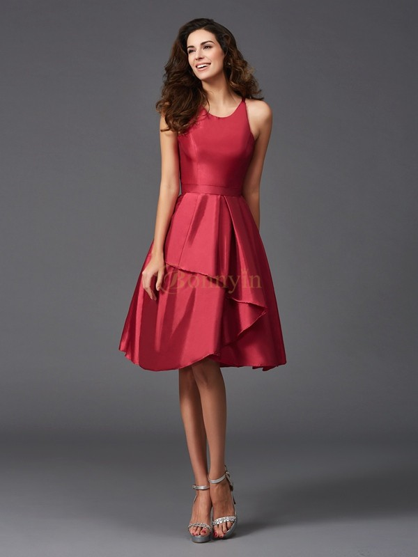 Burgundy Taffeta Scoop A-Line/Princess Knee-Length Bridesmaid Dresses