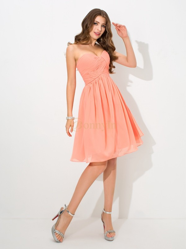 Orange Chiffon Sweetheart A-Line/Princess Knee-Length Bridesmaid Dresses