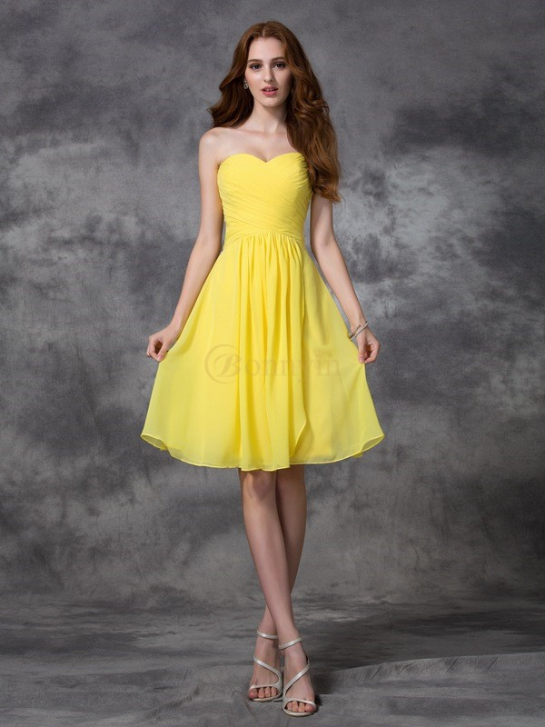 Yellow Chiffon Sweetheart A-line/Princess Knee-length Bridesmaid Dresses