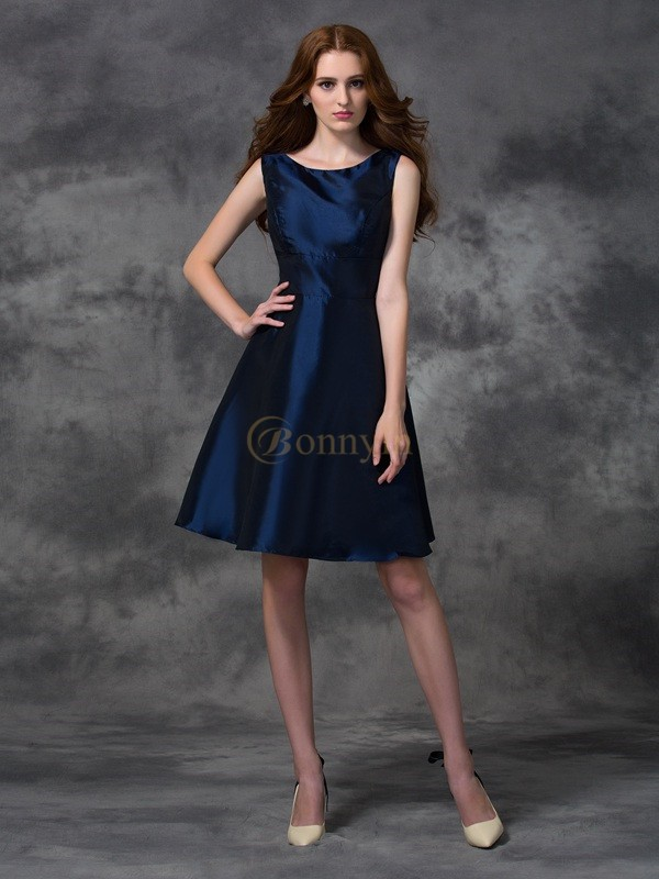 Dark Navy Taffeta Scoop A-line/Princess Knee-length Bridesmaid Dresses