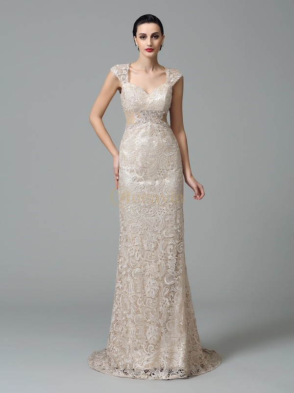 Champagne Lace Straps Sheath/Column Sweep/Brush Train Evening Dresses