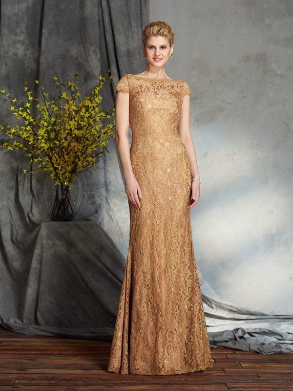 Gold Lace Bateau Sheath/Column Floor-Length Mother of the Bride Dresses