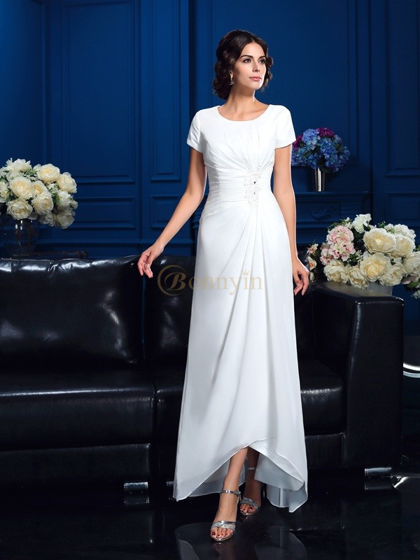 White Chiffon Scoop A-Line/Princess Asymmetrical Mother of the Bride Dresses