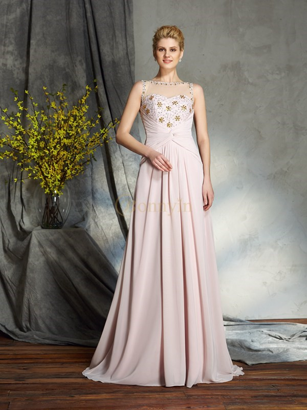 Pearl Pink Chiffon Bateau A-Line/Princess Sweep/Brush Train Mother of the Bride Dresses