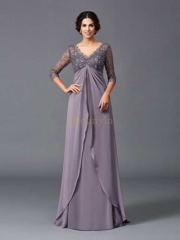 Lilac Chiffon V-neck A-Line/Princess Floor-Length Mother of the Bride Dresses