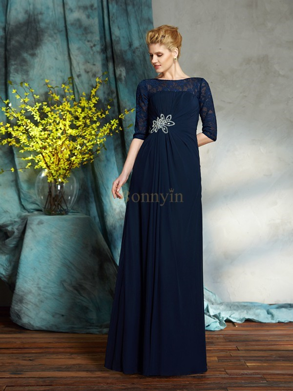Dark Navy Chiffon Bateau A-Line/Princess Floor-Length Mother of the Bride Dresses