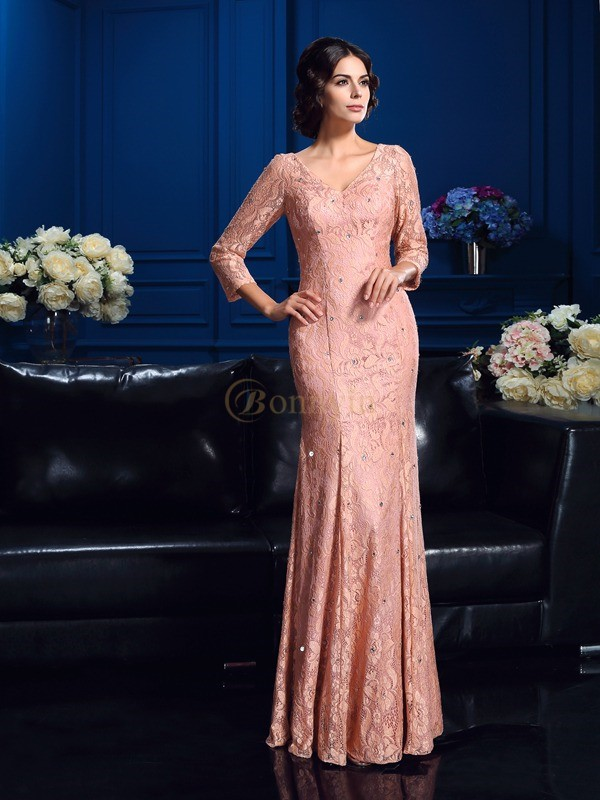 Lace V-neck Sheath/Column Floor-Length Mother of the Bride Dresses
