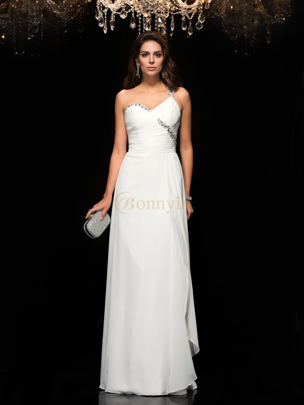 White Chiffon One-Shoulder A-Line/Princess Floor-Length Prom Dresses