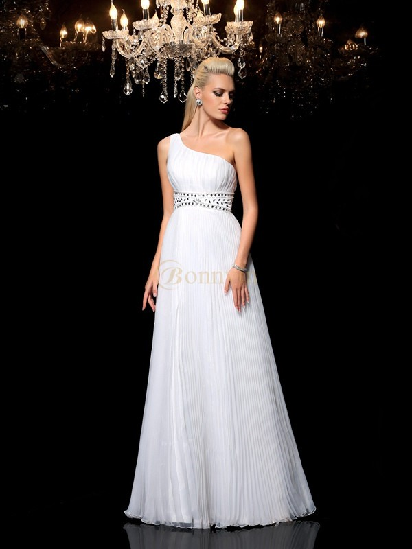 White Organza One-Shoulder A-Line/Princess Floor-Length Prom Dresses