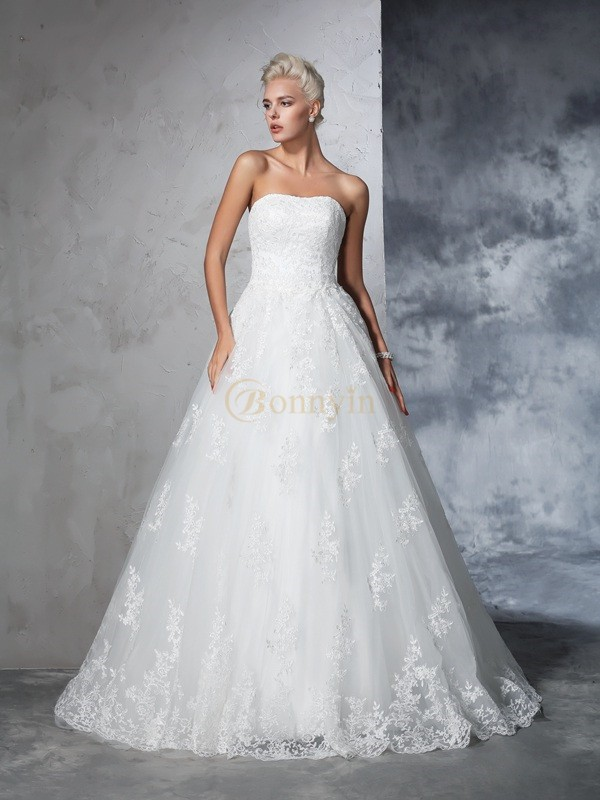 Ivory Lace Strapless Ball Gown Court Train Wedding Dresses