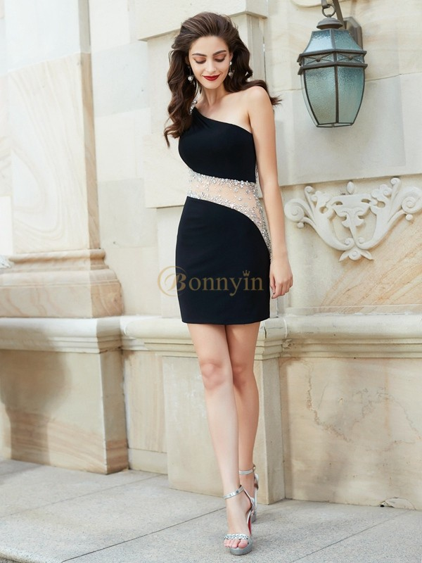 Black Net One-Shoulder Sheath/Column Short/Mini Homecoming Dresses