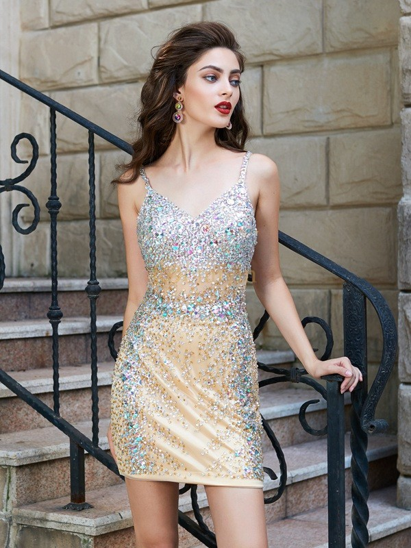 Gold Net Spaghetti Straps Sheath/Column Short/Mini Homecoming Dresses