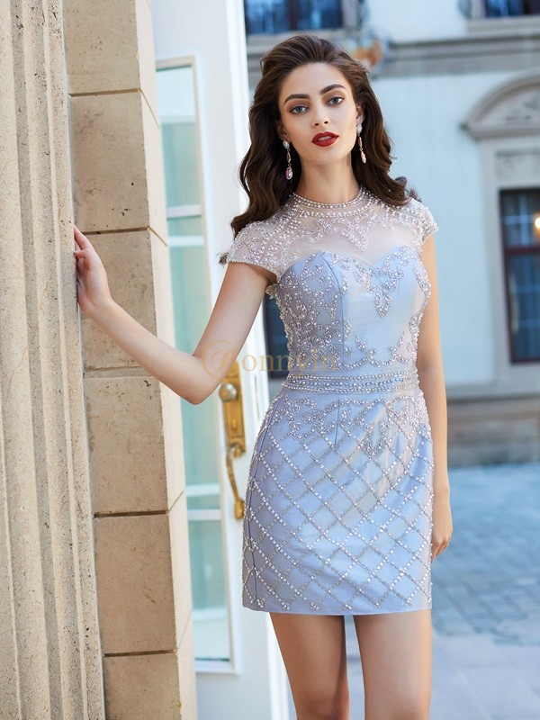 Silver Satin Jewel Sheath/Column Short/Mini Homecoming Dresses