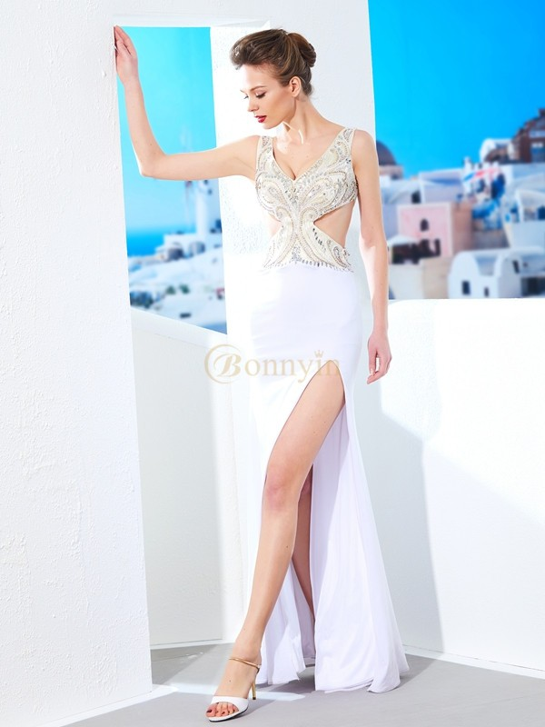 White Spandex V-neck Sheath/Column Floor-Length Dresses