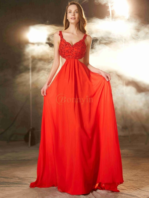 Red Chiffon Straps A-Line/Princess Sweep/Brush Train Prom Dresses