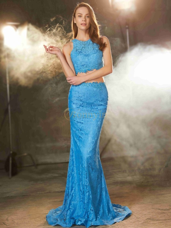Blue Lace Scoop Sheath/Column Sweep/Brush Train Two Piece Dresses