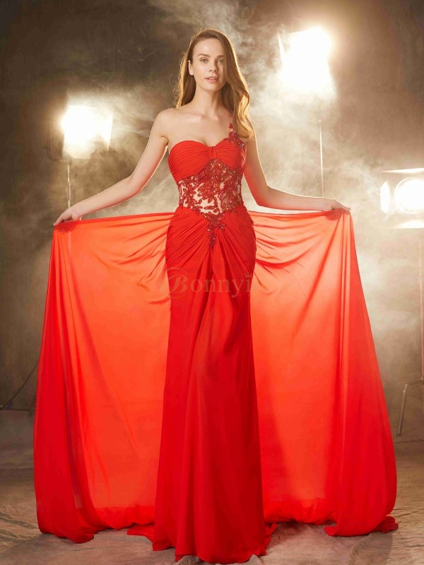 Red Chiffon One-Shoulder Sheath/Column Sweep/Brush Train Prom Dresses