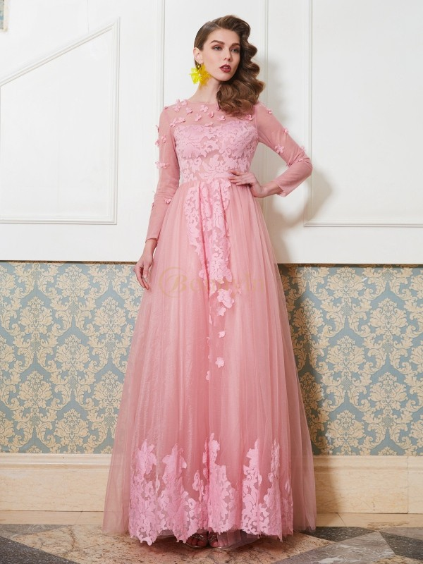 Pink Tulle Scoop A-Line/Princess Floor-Length Dresses