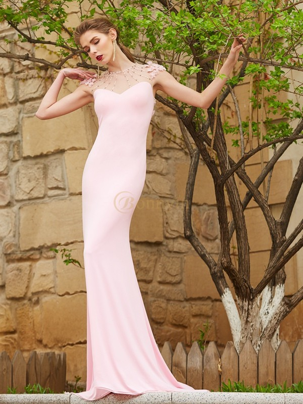 Pearl Pink Spandex Jewel Trumpet/Mermaid Sweep/Brush Train Dresses