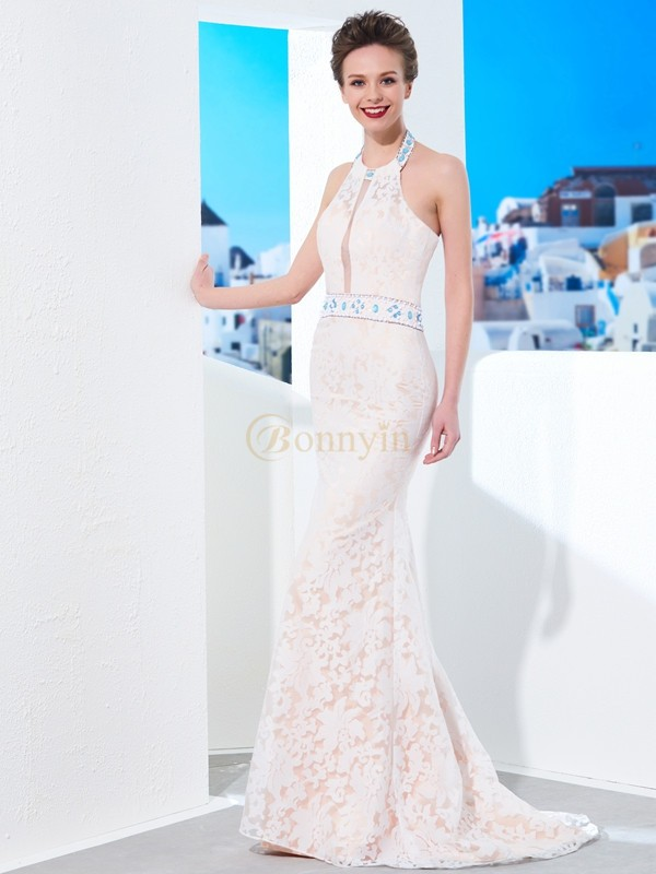 Ivory Lace Halter Sheath/Column Floor-Length Prom Dresses
