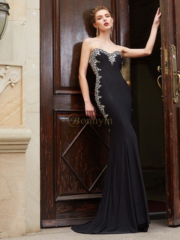 Black Spandex Sweetheart Sheath/Column Sweep/Brush Train Prom Dresses